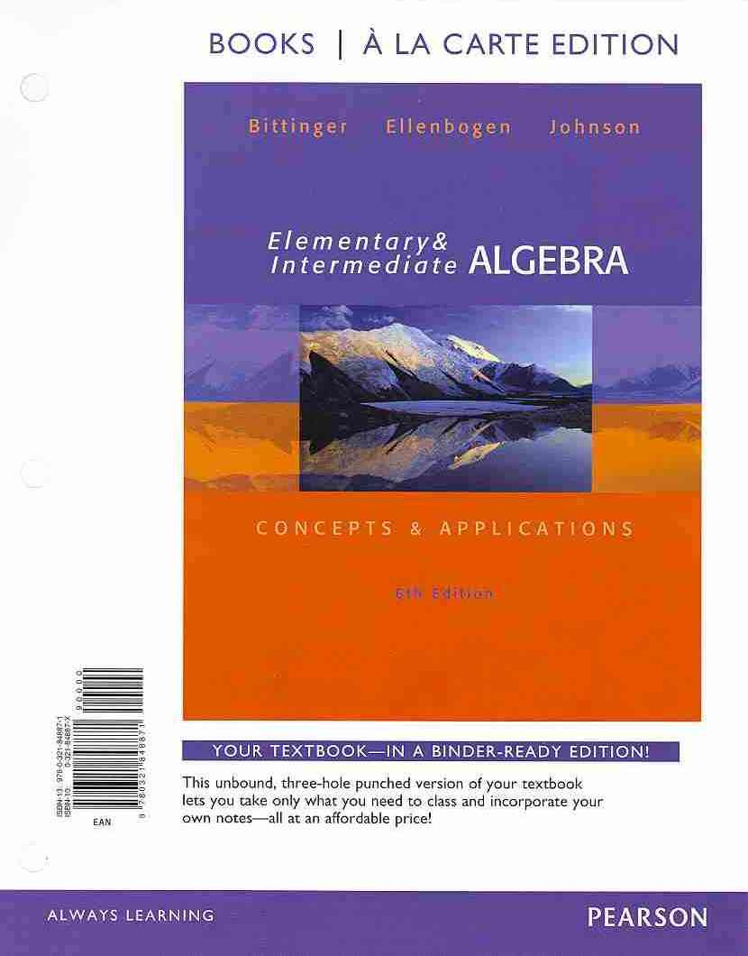 Elementary and Intermediate Algebra + Mymathlab Student Access Code By Bittinger, Marvin L./ Ellenbogen, David J./ Johnson, Barbara L